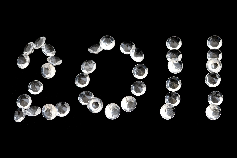 2011 written in diamonds on a black background