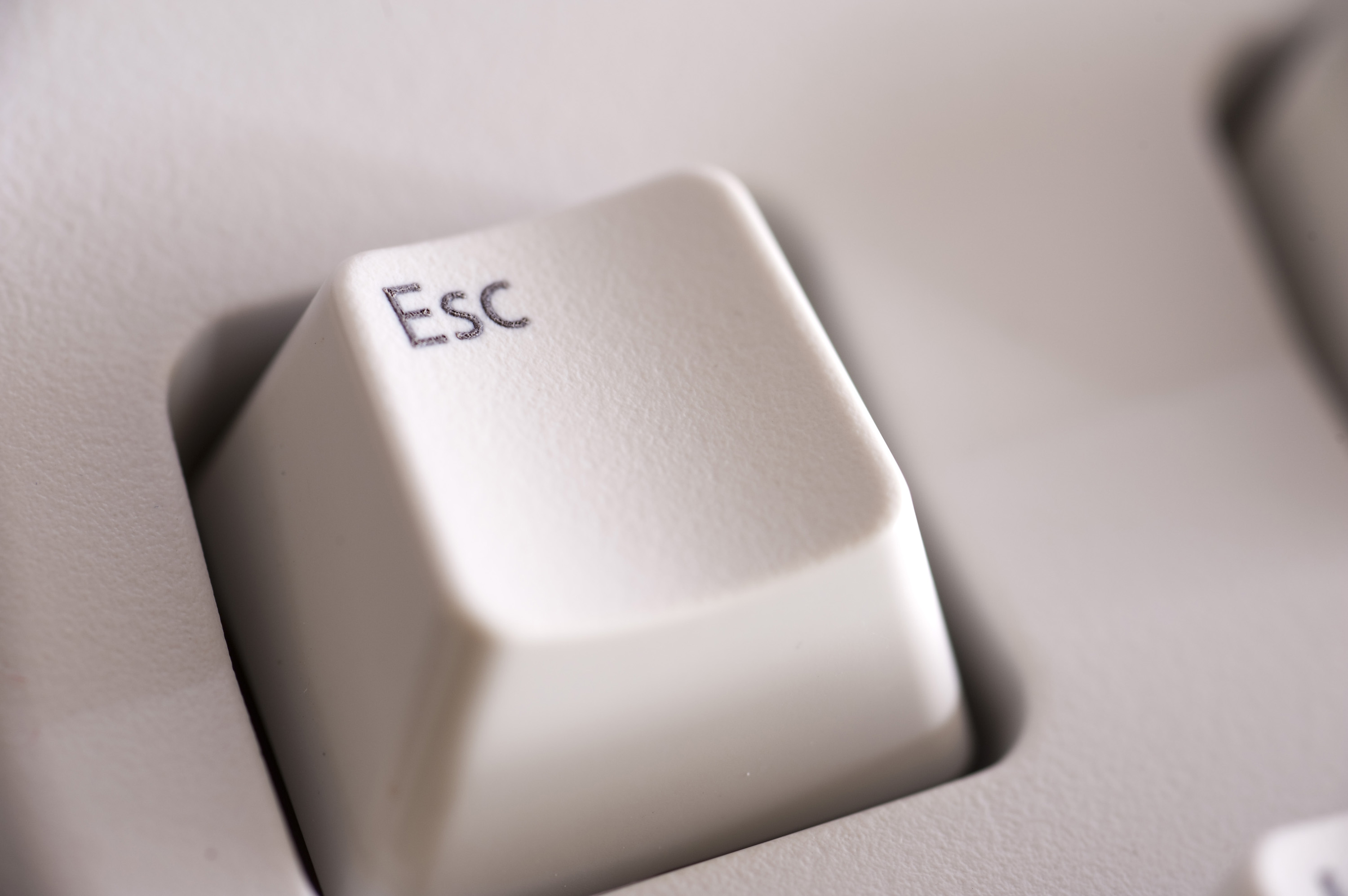 Close Up On The Escape Key On A Computer Keyboard